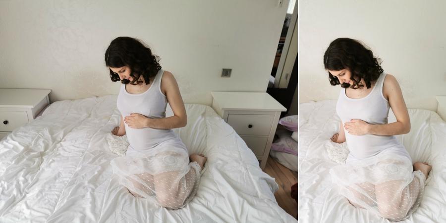 Photo de grossesse : avant et après retouche